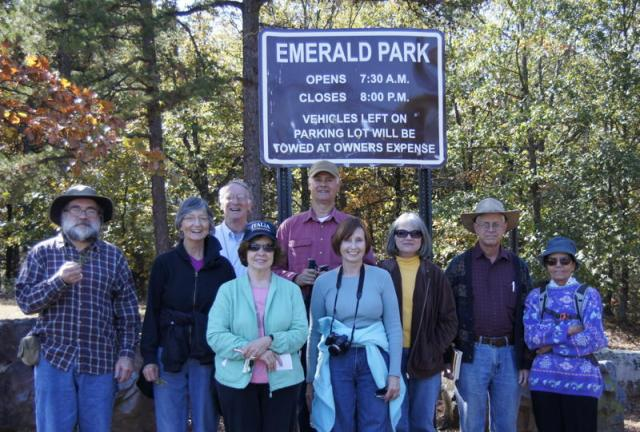 Society members at Emerald Park: Eric Sundell and Don Ford (back row); Butch Hinson, Milanne Sundell, Charlotte Smith, Ellen Repar, Becky Hardin, and John and Fatemeh Sutherland. (Photo by Martha Bowden)