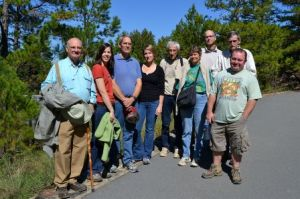 Rocky Valley Trail Hikers (left to right): G. W. Willis, Karen Fawley, Marvin Fawley, Jennifer Ogle, Jack Stewart, Pam Stewart, Isaac Ogle, Sid Vogelpohl, and Brent Baker (Photo by Jeanette Vogelpohl)